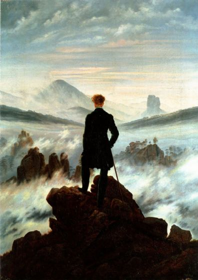 Friedrich, Casper David: The Wanderer Above the Sea of Fog. Fine Art Print/Poster. Sizes: A4/A3/A2/A1 (00261)